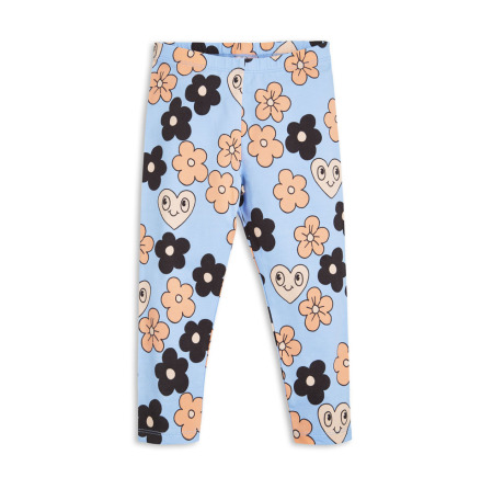 Mini Rodini Flowers Leggings Light Blue