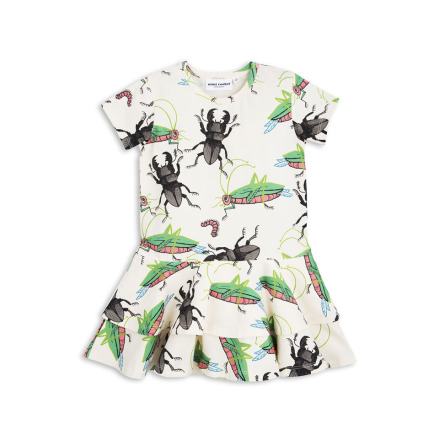 Mini Rodini Insects Frill Dress Off White