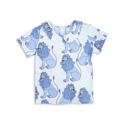 Mini Rodini Lion Collar SS Tee Light Blue