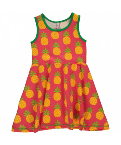 Maxomorra Dress Gathered NS Pineapple