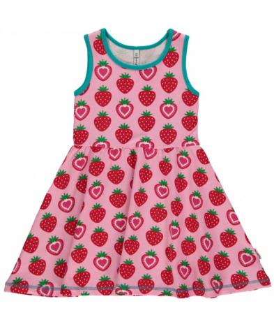 Maxomorra Dress Gathered NS Strawberry