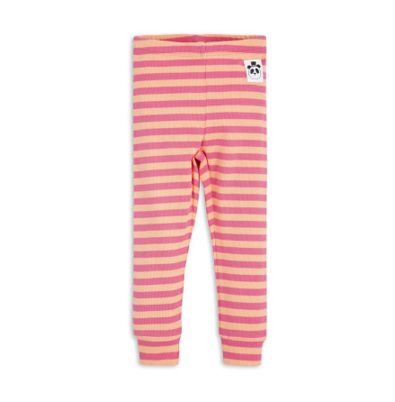 Mini Rodini Stripe Rib Leggings Pink