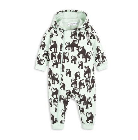 Mini Rodini Panther Onesie Light Green