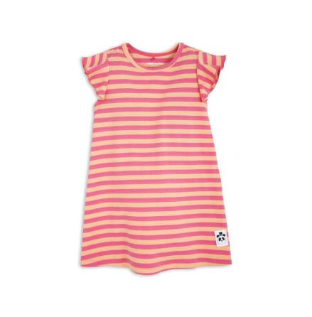 Mini Rodini Stripe Rib Wing Dress Pink