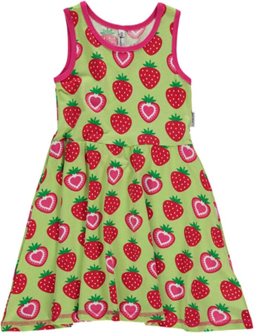 Maxomorra Dress Gathered NS Strawberry
