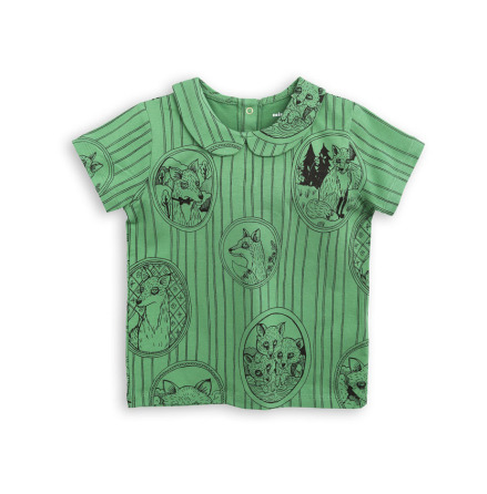 Mini Rodini Fox Family Collar Tee Green