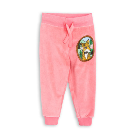 Mini Rodini Fox Velour Sweatpants Pink
