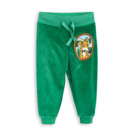 Mini Rodini Fox Velour Sweatpants Green