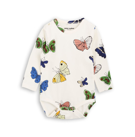 Mini Rodini Butterflies LS Body Offwhite