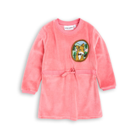 Mini Rodini Fox Velour Dress Pink