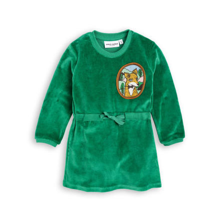 Mini Rodini Fox Velour Dress Green
