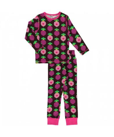 Maxomorra Pyjamas Set LS Polka Beet