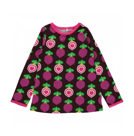 Maxomorra Top LS Polka Beet