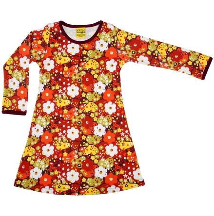 Duns LS Dress Flower Red