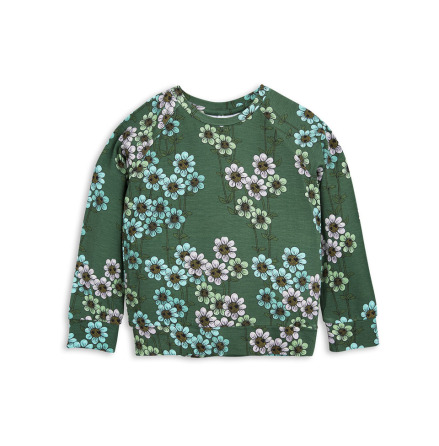 Mini Rodini Daisy LS Cuff Tee Dark Green