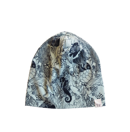 By Heritage Kerstin Beanie Print Navy Blue