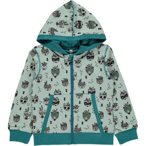 Maxomorra Cardigan Hood Animal Mix