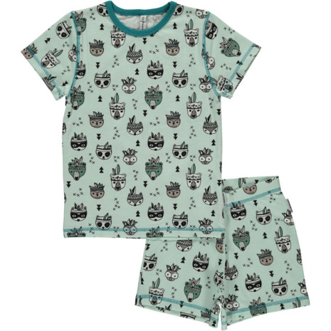 Maxomorra Pyjamas Set SS Animal Mix