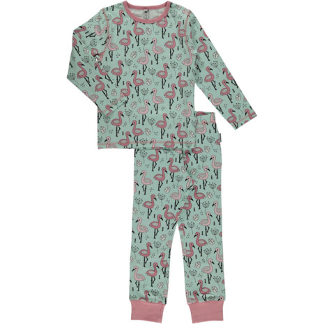 Maxomorra Pyjamas Set LS Sweet Flamingo