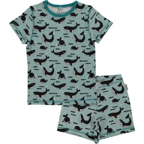 Maxomorra Pyjamas Set SS Whale Ocean
