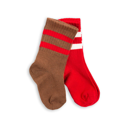 Mini Rodini 2-pack stripe sock brown/red