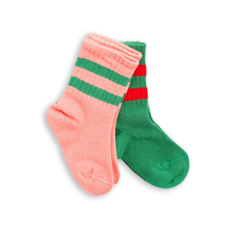Mini Rodini 2-pack stripe sock pink/green