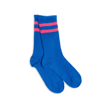 Mini Rodini 1-pack stripe sock blue/cerise