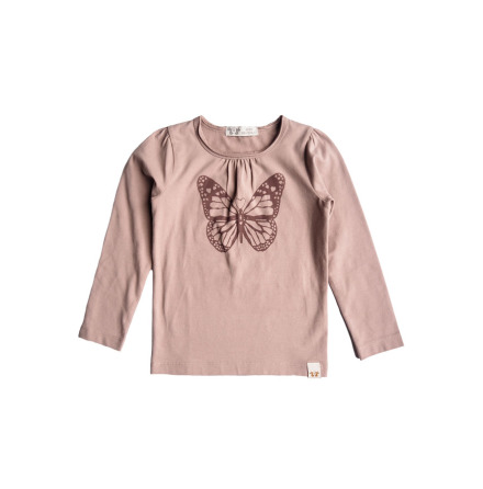 By Heritage Malva Top solid old pink frontprint