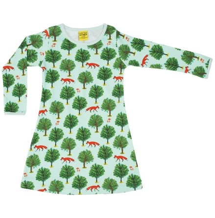 Duns Dress Fox and tree jade long sleeve dress