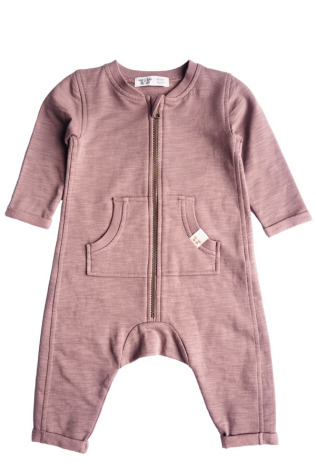 By Heritage Otto Playsuit solid dark old pink