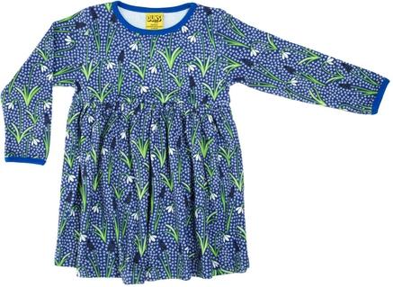 Duns Dress Snowdrops Blue LS gather skirt