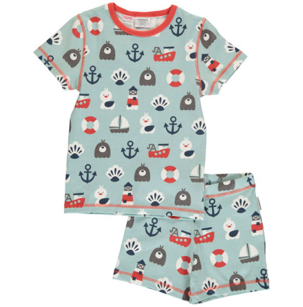 Maxomorra Pyjamas Set SS Blue Ocean