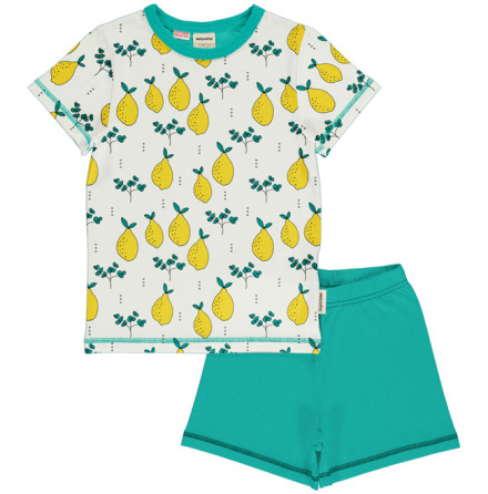 Maxomorra Pyjamas Set SS Leafy Lemon