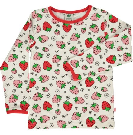 Småfolk T-shirt LS Strawberry White