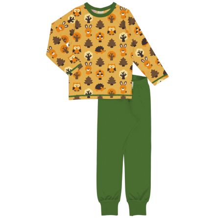 Maxomorra Pyjamas Set LS Yellow Forest