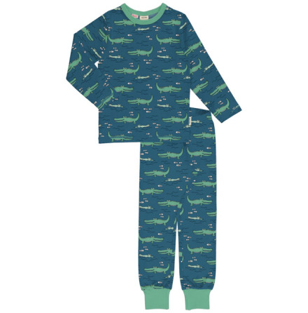 Maxomorra Pyjamas Set LS Crocodile Water