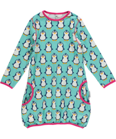 Maxomorra Dress Ballon LS Penguin